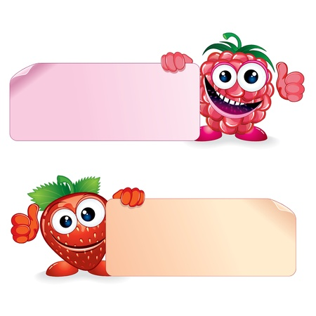 hand holding paper: Cute Vector Fruits  Raspberry and Strawberry Holding a Blank Sign