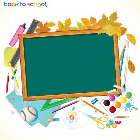 graduacion niños: Regresar a la escuela con el fondo Ilustración vectorial colorido Copyspace