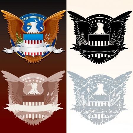 aguila americana: Conjunto de sello estilizada de la Ilustraci�n Vector Presidente Vectores