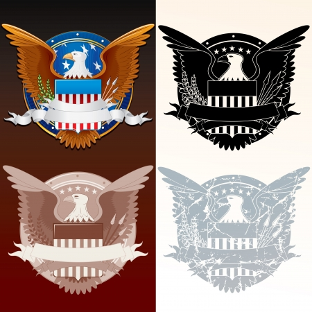 president of the usa: Set of Stylized Seal of the President  Vector Illustration Illustration