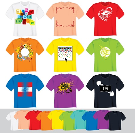 t shirts: T Shirts Vector Collection  Illustration without Gradients Illustration