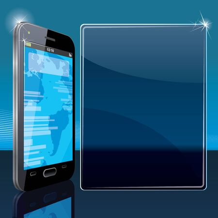Vector Background with Black Smart Phone and Copy Space Vector