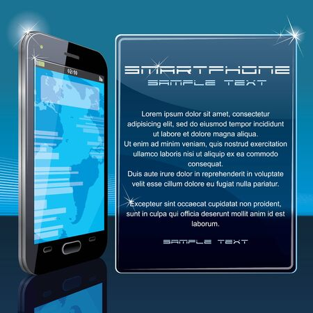 future advertising: Vector Background with Black Smart Phone and Copy Space