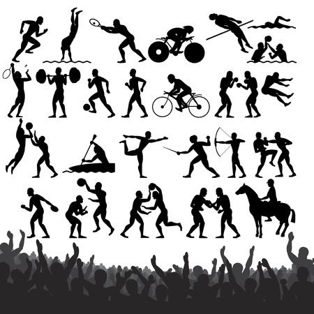 grandstand: Silhouettes of Summer sports competition Sport  Vector Design Clip Art