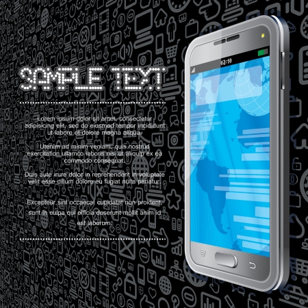 tablet pc in hand: Technology Vector Template  Touchscreen Phone on Social Media Icons Background