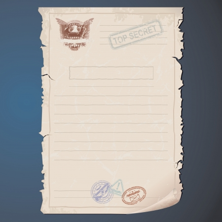 espia: Blank documento Top Secret Vector plantilla para el texto y Dise�o