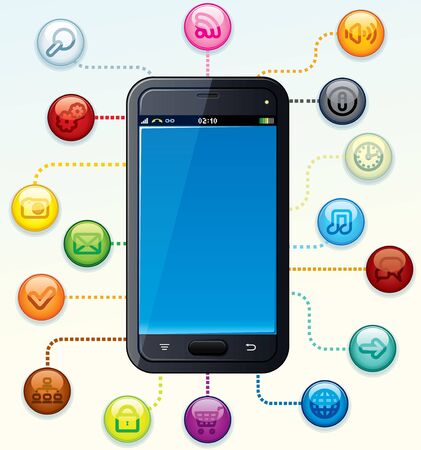 Moderno teléfono con pantalla táctil inteligente con aplicaciones de ilustración vectorial Iconos