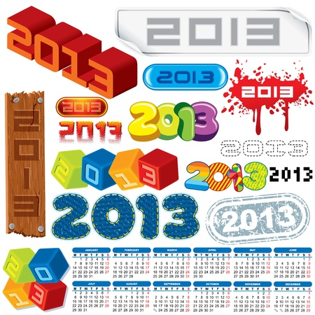 2013 Year  Vector Calendar and Labels  Week Starts on Monday Stock Vector - 15061161