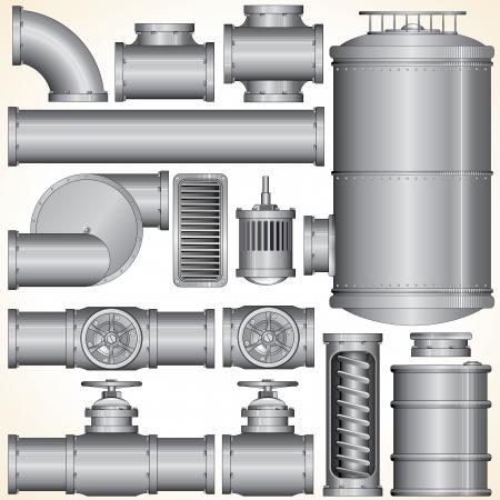 bomba de agua: Piezas de tubería industrial de tuberías, tanques, válvulas, motor, eje, Ilustración Vector Conector Vectores