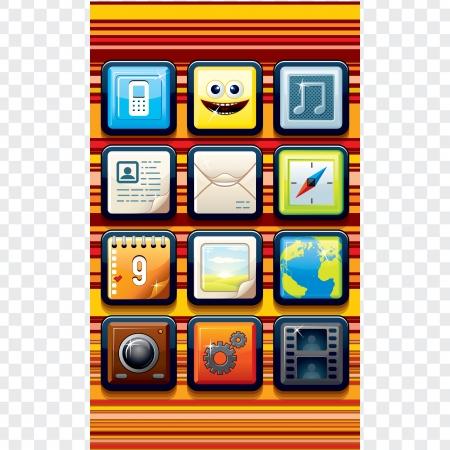 Funky Cartoon Phone Interface Vector Kit Stock Vector - 15061166