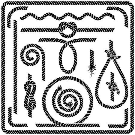 結び目: シームレスなロープ デザイン要素のベクトルを設定  イラスト・ベクター素材