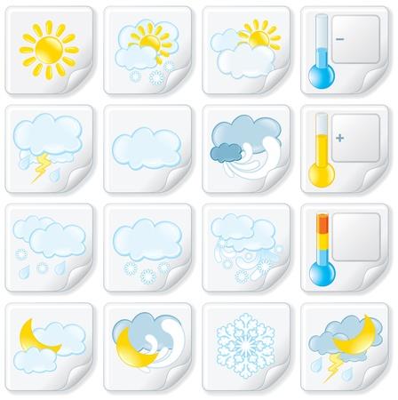meteo: Previsioni Meteo adesivi Vector Icon Set