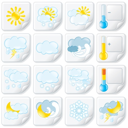 weerbericht: Weersverwachting Stickers Vector Icon Set Stock Illustratie
