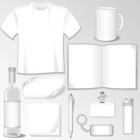 Blank Design Templates for Your Presentation or Logos  White Vector Bottle, T-Shirt, Mug, Brochure, Badge, Pen, Bibelot    Stock Vector - 15061225