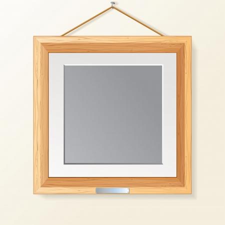 ahorcada: Marco en blanco Foto de madera en la pared Ilustración vectorial Vectores