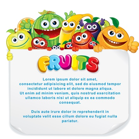 fruits background: Cartoon Fruits. Funny Banana, Apple, Orange, Strawberry and other are holding a Blank Sign. Vector Illustration