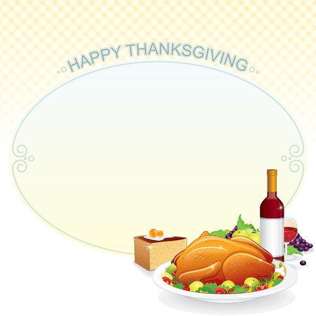 Thanksgiving Background  Illustration with Roast Turkey on the Plate, Pie and Wine Stock Vector - 16446688