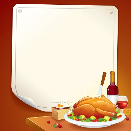 Thanksgiving Background with Roasted Turkey, Pie and Wine Vector