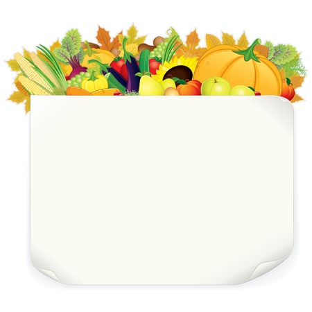 vegetable cartoon: Thanksgiving Background  Illustration