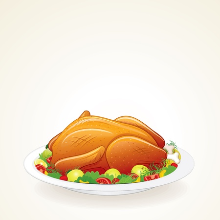 whole chicken: Thanksgiving Turkey with Fruits and Vegetables  Illustration