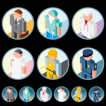 vector images: People Occupation Icons  Isometric Vector Images