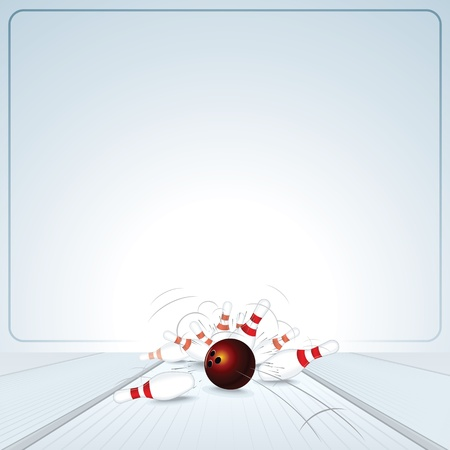 ten pin bowling: Bowling Strike  Ball Crashing into the Skittles
