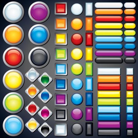 buttons: Insieme di pulsanti web, icone, barre Vector Image