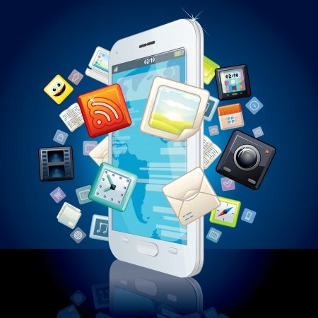 smartphone apps: Icons Cloud around Touchscreen Smartphone  Vector Image Illustration