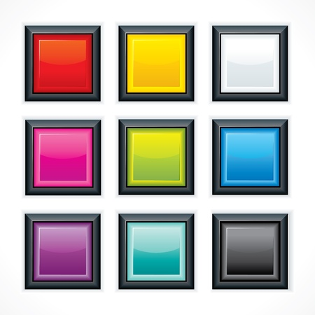 Square empty buttons Stock Vector - 17919184