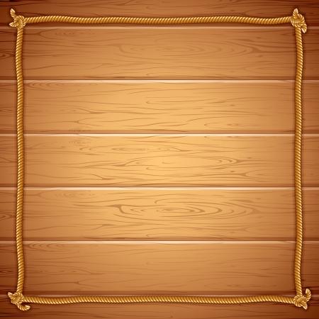 marinero: Cuerda Frame en la plantilla de madera del vector para el texto yuor Vectores