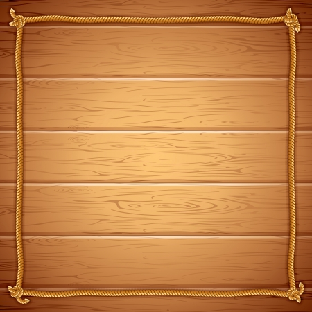 wanderer: Rope Frame on Wood  Vector Template for Yuor Text Illustration