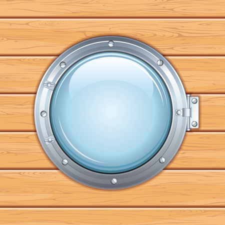Porthole Window on a Wooden Ship  Vector Image Vector