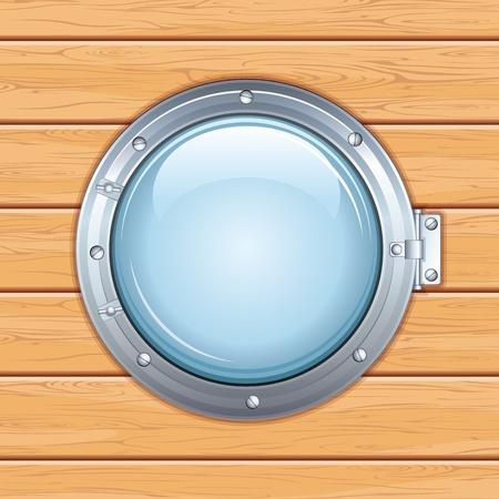 porthole: Porthole Window on a Wooden Ship  Vector Image