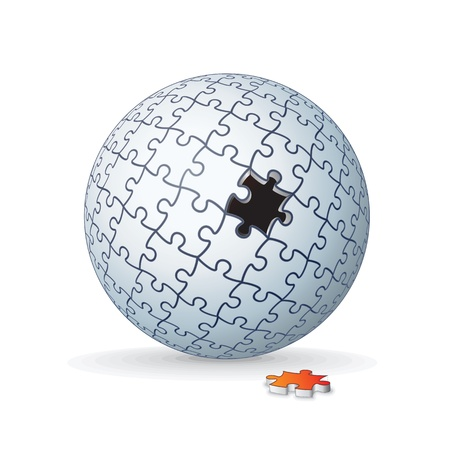 unfinished: Globe Jigsaw Puzzle, Sphere Imagen vectorial 3D