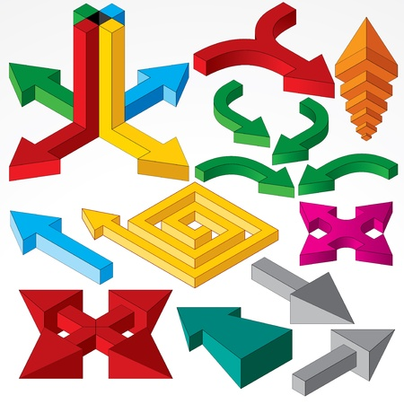 Set of Isometric Arrows and Design Elements  Vector Stock Vector - 17919174