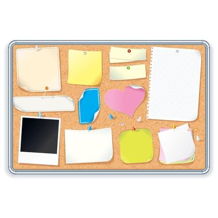 adhesive: Cork tabl�n de anuncios con imagen en blanco Vector Notas Vectores