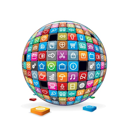 business software: Abstract Sphere with Application Icons  Vector Image Illustration