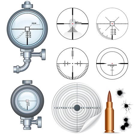 ballistic: Sniper Scope, Target, Crosshair  Vector Clip Art Illustration