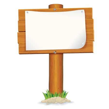 wooden post: Signo aislado de madera con gr�ficos vectoriales de papel Vectores