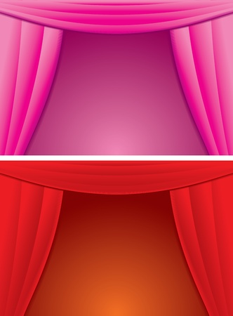 Elegance Red and Pink Curtain  Vector Illustration Vector