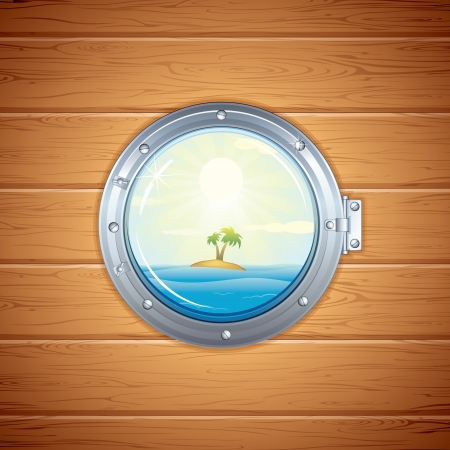 round window: Tropical Island view from Porthole  Vector Image