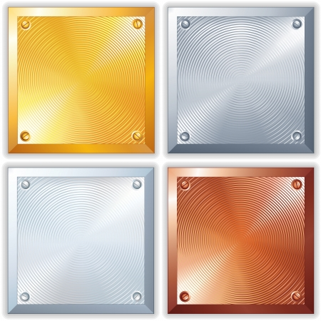 brushed aluminum background: Vector Shiny Metal Signs