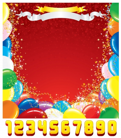 Customizable Greeting Card  Festive Birthday Background with Set of Shiny Numbers  Create Your Own Birthday Card  Vector