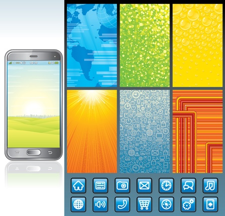 Smart Phone Design Set  Pack Including Wallpaper Set, Interface Icons, Abstract Phone Image    Stock Vector - 17919320