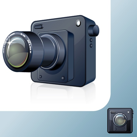 Photocamera Design Icon  3D Vector Image Vector