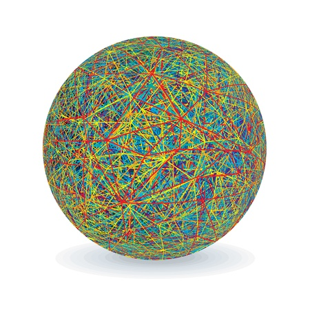 yarns: Isolated Multicolored Yarn Ball  Vector Image Illustration