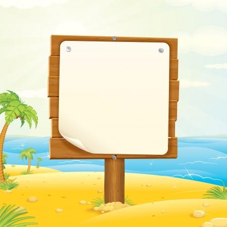 Cartel de madera con el papel en blanco en la ilustración vectorial Tropical Beach