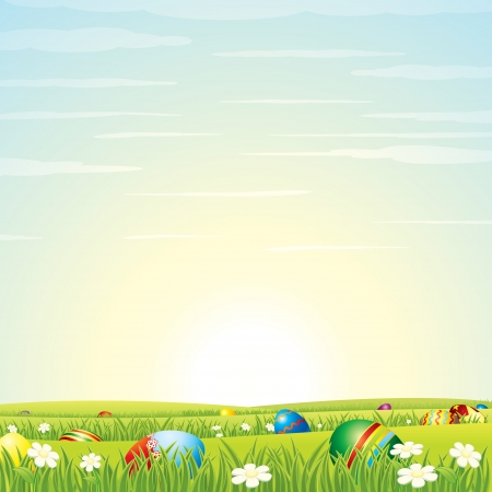 Easter Background  Eggs in Green Grass  Vector Illustration
