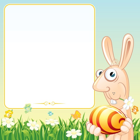 Easter Card with Funny Bunny  Cartoon Illustration Stock Vector - 17919404