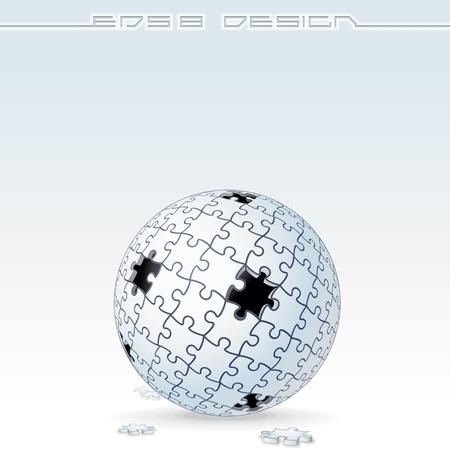 Jigsaw Puzzle Globe  Conceptual Vector Image Vector